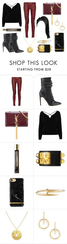"""""""Balmain Leather Pants"""" by lovinggivenchy ❤ liked on Polyvore featuring Balmain, Rupert Sanderson, Yves Saint Laurent, River Island, Cartier and Sole Society"""