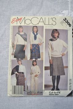 McCalls Pattern 3306 Womens Clothing Pants Skirt Size D 12 14 16 Fashion Sewing Pattern PanchosPorch Mccalls Patterns, Sewing Patterns, So Creative, Fashion Sewing, Skirt Pants, Handmade Clothes, Handicraft, Collection, Clothes For Women