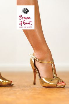 Gold High Heels Beautiful Handmade by Comme il Faut Dancing Shoes for Tango, Salsa and Bachata. New Collections Every Month Find them at Lisadore.com