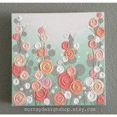 Nursery Wall Art, Mint, Coral, and Peach Textured Flowers, Select Your... ($110) ❤ liked on Polyvore featuring home, home decor, wall art, peach wall art, modern wall art, modern home accessories, flower home decor and coral home decor