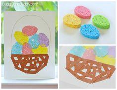 Manualidades de Pascua para niños: dibujo de cesta con huevos