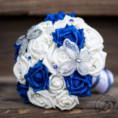 Butterfly wedding bouquet with royal blue glitter roses, 8.5″ – Real touch wedding bouquets handcrafted by The Bridal Flower