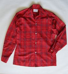 1960's button up shirt in red royal blue and by afterglowvintage, $36.00
