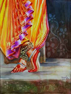 Wonderful Pictures 29 Ideas Dancing Drawings Watercolors For 2019 Suggestions Vandana Puthanveettil posseses an detailed Hobby: she is a part-time solo dancer. Indian Women Painting, Indian Art Paintings, Watercolor Fabric, Fabric Painting, Dancing Drawings, Art Drawings, Bd Art, Photography Sketchbook, Mudras