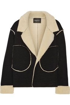 Norma Kamali Faux shearling and jersey jacket | THE OUTNET