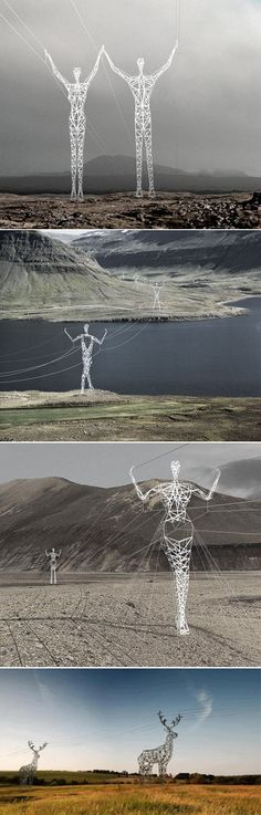 Icelandic power lines made to look like Giants.