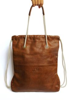Leather Backpack/ Tote Brown Color JUD Hand Made by JUDtlv on Etsy, $250.00