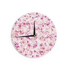 "Kess InHouse Angelo Cerantola Rosebreath"" Pink Floral Wall Clock 12"" (Rosebreath) (Wood)"