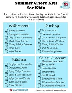 Summer Chore Kits and Screen Time Checklist for Kids | ClutterBug.Me