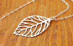 Silver Leaf Necklace  leaf pendant filigree leaf by MegusAttic, $28.00