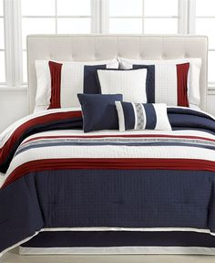 Ethan 7 Piece Embroidered Comforter Sets - Bed in a Bag - Bed & Bath - Macy's OMG! $60 on sale now for the set!
