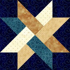 Weave A Star. Great simple pattern for a barn quilt. Quilt pattern would be make a great scrapbooking page. Star Quilt Blocks, Star Quilts, Sampler Quilts, Barn Quilt Patterns, Pattern Blocks, Quilt Block Patterns 12 Inch, Quilting Projects, Quilting Designs, Quilt Modernen