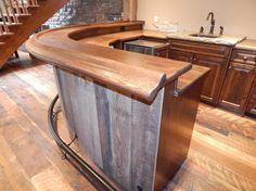 Oak Curved Home Bar