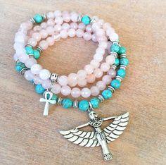 108 Mala Beads | Pink Rose Quartz & Turquoise Howlite Mala with Egyptian Goddess Isis Charm | Meditation Beads, Prayer Beads Yoga Rosary by MayanRoseShop on Etsy