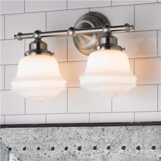 $99 Milk Glass Bath Light   2 Light