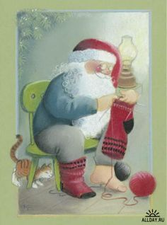 "From the ""Moonlighting"" series of Christmas cards -- by Kaarina Toivanen, Finnish Very Merry Christmas, Father Christmas, Christmas Music, Christmas Crafts, Art Du Fil, Knitting Humor, Knitting Socks, Creation Photo, Images Vintage"