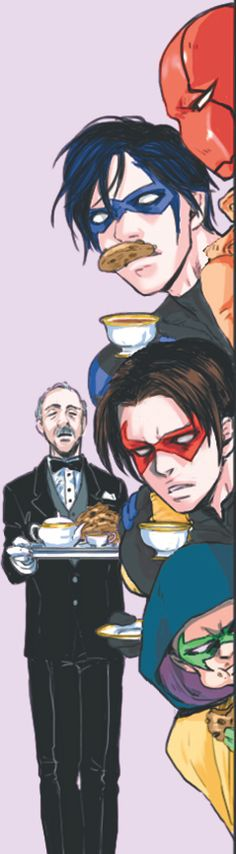 Batfamily. Alfred watching the batboys be dorks. Nightwing, Red Hood, Red Robin, & Robin.