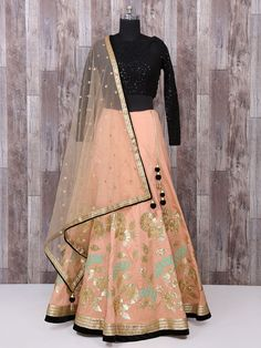 c8d860e432aa3 Buy This Festival Wear Peach Silk Zari Work Lehenga Choli Online Shopping