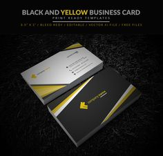 Dark blue business card vector download free download designertale yellow and black business card illustrator template wajeb Gallery