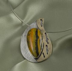Bumblebee Jasper Sterling Silver and Bronze Pendant