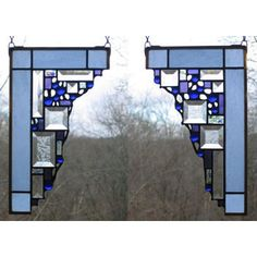 Edel Byrne Light Blue Small Geometric Corner Pair Stained Glass Panels, Artistic Artisan Designer Window Panels
