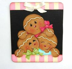 "HP ""Three Gingerbread "" Handpainted Wood Fridge Magnet 
