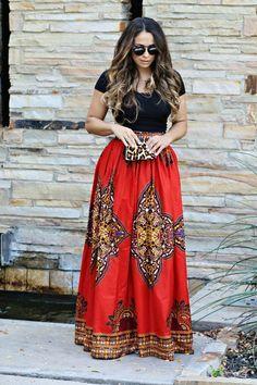 Maxi skirt. African print. Cotton. Back zipper. Small elastic on each side of the zipper.  Size XS (US S 0-2) WAIST: 26-27  Size S (US S 4-6) WAIST: