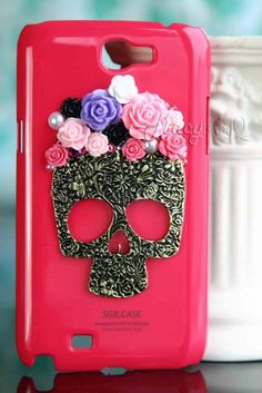 SALEhandmae rose on brass skull Samsung Galaxy S3 Note 1 Note 2 Note 3 iPhone 4