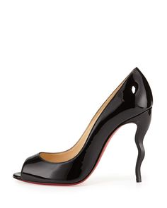 Christian Louboutin Jolly Patent Squiggle-Heel Red Sole Pump, Black