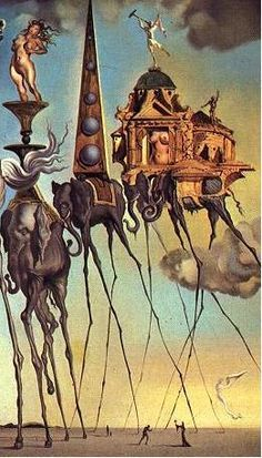 """This is Salvador Dali's """"Elephant's 3,"""" which is my inspiration for a story for a Dali-themed anthology. The melting clocks on the desert are much better known, and offer more obvious story ideas, but this image is strange and wonderful."""