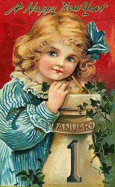 Vintage New Year Postcard A Happy New Year.posted by Susan Criser Vintage Happy New Year, Happy New Year Cards, Happy New Year Greetings, New Year Greeting Cards, Vintage Greeting Cards, Vintage Postcards, Vintage Images, Christmas Greetings, Victorian Christmas