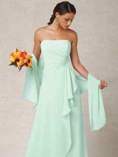 #Mint Green Bridesmaid dress with wrap - see more of the Mint Trend at this Pinterest board