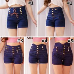 S-XL Blue Elegant Double-Breasted High Waisted Jean Shorts SP166799