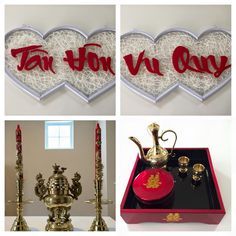 Vietnamese Tea Ceremony Items (Wedding Signs, Candle Holder, and Wine Set)  http://rentievents.com/  #rentievents #vietnameseteaceremony #vietnamesewedding