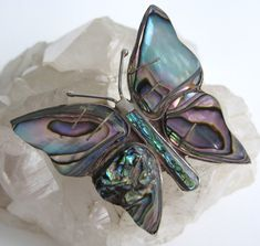 Vintage Butterfly Pin Abalone Sterling by VintageFunkandFlair