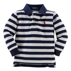 Ralph Lauren Baby Boys Navy Striped Long Sleeve Polo