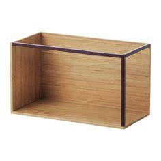 IKEA - IKEA PS 2014, Opbevaringsmodul, bambus/mørkerød, , Lav din egen personlige kombination til opbevaring og udstilling af dine ting ved at kombinere moduler og låg, som du vil.Overfladen er fremstillet af bambus, der er et holdbart, fornybart og bæredygtigt materiale.