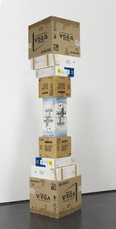 thejogging: Martin Creed's Work No. 916 Duplicated, Edited and Combined, 2013 10 Cardboard Boxes ← Art Totem, Music Visualization, Artistic Installation, Carton Box, Scenic Design, Environmental Design, Light Art, Box Art, Typography Design
