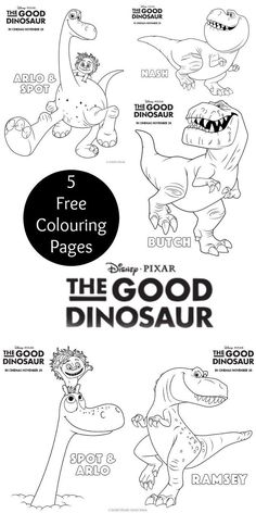 Disney Pixar The Good Dinosaur Colouring Page Printables. 5 different colouring sheets for kids with all the different characters for this movie