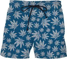 Trippy Coloful Marijuana Weed Beach Swim Mens Shorts Printed Microfiber