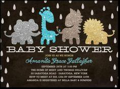 Glittery safari animals baby shower invite! So cute! Tiny Prints