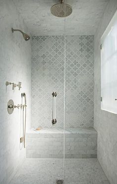 53 Inspiring Farmhouse Shower Tile Remodel Ideas Mosaic tiles are likewise a very good flooring choice for bathrooms. Recycled glass tiles are amazingly sturdy and are beautiful to consider. Master Bathroom Shower, Bathroom Renos, Bathroom Renovations, Small Bathroom, Gray Shower Tile, Marble Tile Shower, Shower Ceiling Tile, Ceiling Tiles, Master Bath Tile