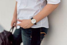 Dress Up, Chow Down - Daniel Wellington Watch, Ann Taylor Shirt, American Eagle Jeans, Backpack