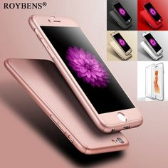 Roybens Coverage Of 360 Degree Case For iPhone 6 6S 4.7 / Plus 5.5 Hard PC Mat Smooth Full Body Case Cover + Clear Glass Film