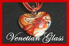 Authentic Venetian Italian Murano Red Necklace from Chanel C Diamond