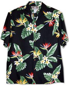 Bird of Paradise Display Men's Hawaiian Tropical Print Shirt, Kalaheo Label created in Black, White and Red. Tropical Outfit, Tropical Fashion, Tropical Party, Hawiian Shirts, Bird Shirt, Bowling Shirts, Aloha Shirt, Collar Styles, Shoulder Shirts
