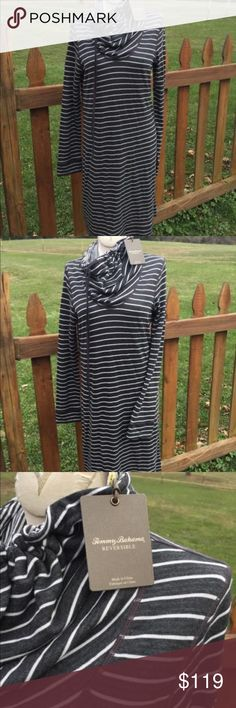 Tommy Bahama Beachwood Reversible Funnel Dress NEW Size medium. New with tags. Very hard to find style. Reversible. Dark grey with white stripes. Be sure to view the other items in our closet. We offer women's, Mens and kids items in a variety of sizes. Bundle and save!! We love reasonable offers!! Thank you for viewing our item!! Tommy Bahama Dresses