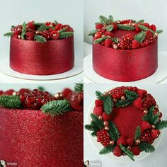 Cake ~ Red satin finish with wreath Christmas Cake Designs, Christmas Tree Cake, Christmas Cake Decorations, Christmas Cupcakes, Christmas Sweets, Holiday Cakes, Christmas Cooking, Holiday Treats, Xmas Cakes