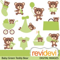 Cute baby teddy bear in green. These   digital images are  great for any craft and creative  projects (specially for nursery and baby shower projects)
