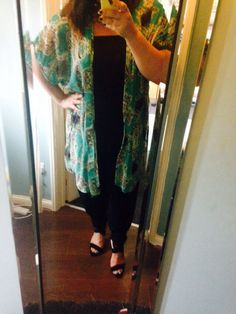 Jump suit and long kimono. And strappy heel sandals. All from Primark!